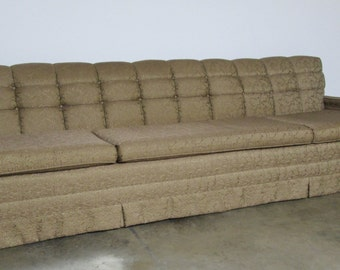 1960s, 1970s Taupe Brown Mid Century Modern Sofa, Couch 8 1/2 Ft Long