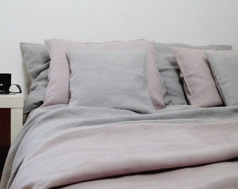 Linen bedding (100%  Linen), King  size duvet cover and 4 pillow cases, Dusty Pink bedding