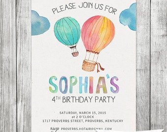 Watercolor HotAir Balloon Girls Invitation - 5x7 JPG