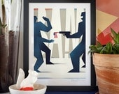 BAM. Framed illustration art giclée print signed by artist Pawel Jonca. 30x40cm.