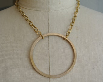 UPcycled Circle Necklace, X-Large, Bronze Sheet Metal made into a simple Circle Necklace, Unique, Four Sizes Available By UPcycled Works
