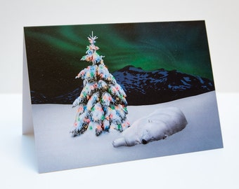 Polar Bear Northern Lights Christmas / Holiday Photo Greeting Card