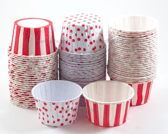 RED Stripes/ Polka Dots Candy Nut Portion Cups- Greaseproof Cupcake/Muffin Baking Cups (24 Count)