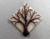 Brown on White - a Twisted Wire Tree on a Rustic Wood Plaque.