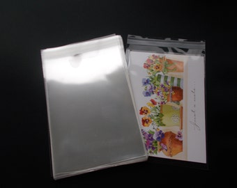 """100 Clear Cello Bags, For 4x6 Card, 4 1/4"""" x 6 1/8"""", Resealable Clear Plastic Sleeves, Acid Free Envelopes for Journal Cards Photo, Print"""