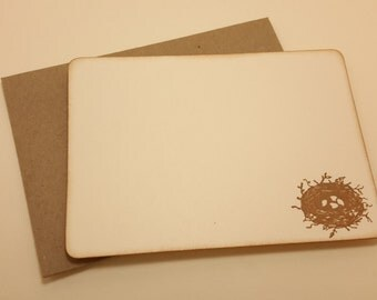 small bird's nest/ flat note cards