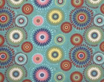 Aqua Medallion Fabric --  100% Cotton Fabric --- Fabric By The Yard --- Lucky Medallion