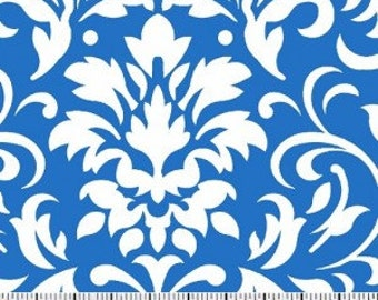 White on Blue Damask Fabric --- Damask Fabric --- Fabric By The Yard