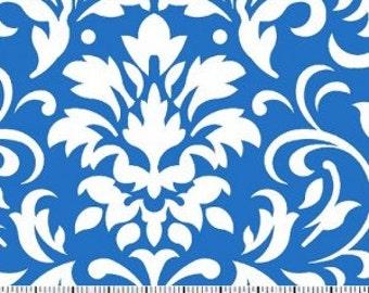 White on Blue Damask Fabric --- Damask Fabric --- Fabric By The Yard