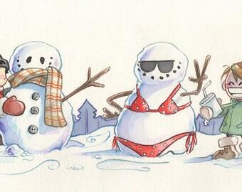Sick of Winter 4x8 illustration print