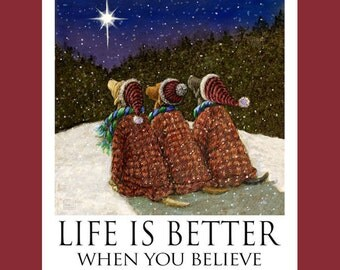 Labrador Retrievers Life Is Better When You Believe Poster of Labs Looking At The Christmas Star