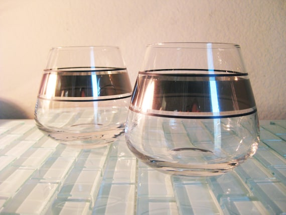 Silver Metallic Cognac Glasses Stemless 2 By Vintageandoddities