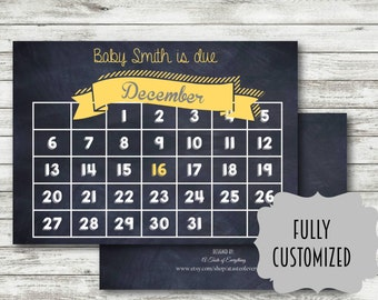 pregnancy announcement DIGITAL DOWNLOAD calendar PRINTABLE 2016 personalized maternity card  photo prop maternity new baby preg 2017