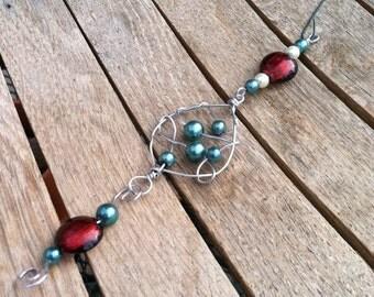 Handmade Dangle Teardrop Wired Beaded Christmas Tree Ornament OR-121114-06