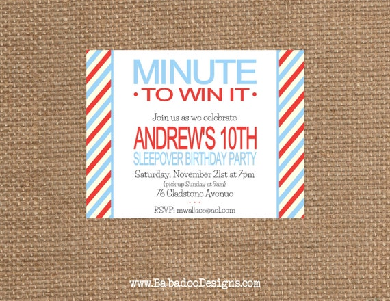 minute to win it birthday baby bridal shower adult