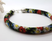 """Designers Necklace """"WILDFLOWERS"""", Beaded Rope Necklace, Flower Design Necklace, Short Necklace, Beaded Choker, Black Red White"""