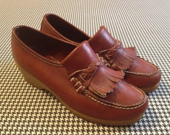 1970's, rubber, wedge sole, leather, loafers, by Dex, Women size 8