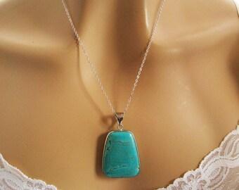 Blue Turquoise Necklace, Large Turquoise Pendant Necklace, Turquoise Jewelry