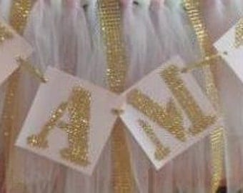 I am 1 paper or rhinestone banner- any color combination you need!