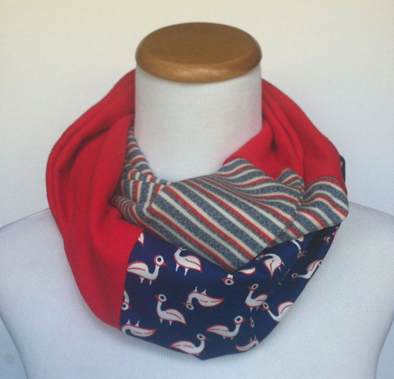 Patchwork Infinity Scarf - Flamingo, Red Knit, Stripes