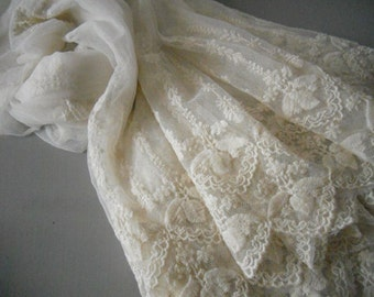 Ivory Lace Fabric , Retro Embroidered Lace Fabric, French Lace Fabric, Bridal Lace Fabric