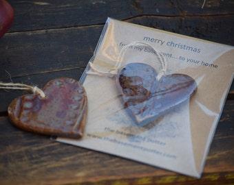 stoneware christmas ornament - heart