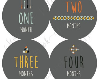 Monthly Onesie Sticker - Neutral Tribal - 1 to 12 months