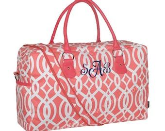 Weekender Duffle Bag, Personalized Weekender Bag, Weekender Bag, Overnight Bag, Weekender Overnight, Weekend Bag, Large Duffle, Coral Trim