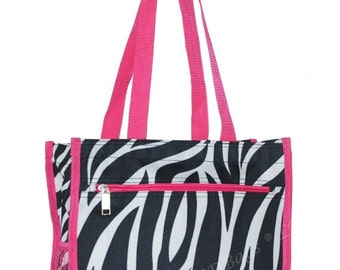 Zebra Tote Bag with Hot Pink Trim Handbag with Free Embroidery