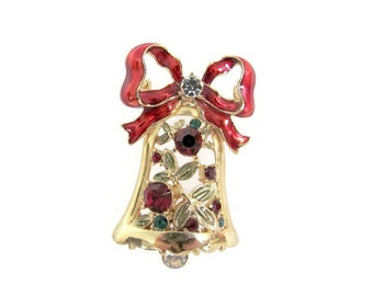 Vintage Christmas Bell Brooch, Pin, 1980's Enamel, Rhinestone Bell Brooch, Christmas Bell Pin, Holiday, Christmas Jewelry, 1980's Christmas