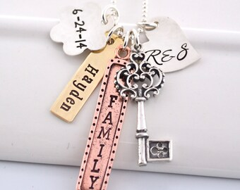 Personalized Mixed Metal Hand-Stamped Mother's Necklace