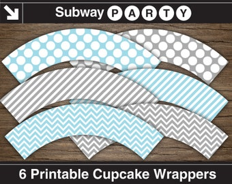 Blue, Grey Boy Baby Shower Cupcake Wrappers / Blue, Gray Cupcake Liners. Chevron, Polka Dots & Stripes. Printable DIY. INSTANT DOWNLOAD.