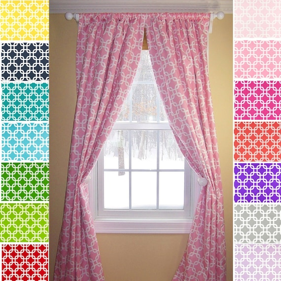 Items Similar To Pink Curtains Turquoise Curtains Coral Curtains Custom Curtains Green Curtains
