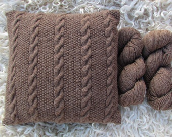 Cushion/Pillow Knitting Kit - Shetland DK 100% Pure New Wool - Cable and Moss Stitch