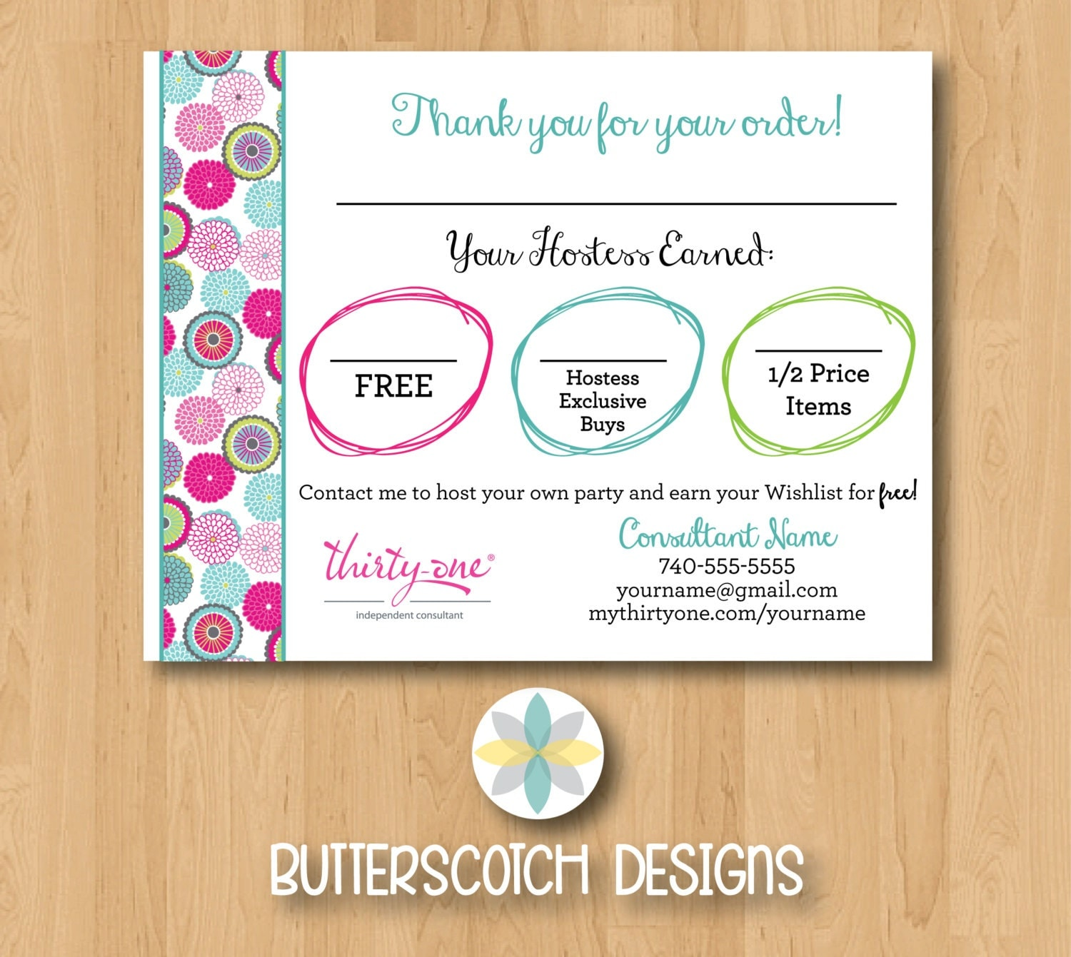 Thirty-One Customer Bag Tag Bubble Bloom Postcards