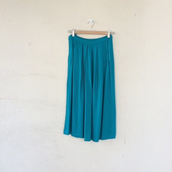 1980 s turquoise pleated midi skirt size s by
