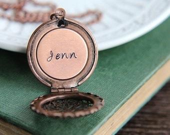 SALE, Personalized Locket, Locket Necklace, Name locket necklace, Copper Locket, Personalized Necklace, Initial Locket, Name necklace