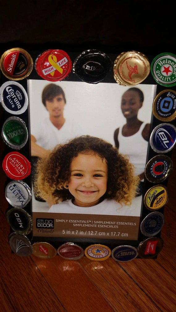 Items similar to beer bottle cap 5x7 picture frame on etsy for Beer bottle picture frame