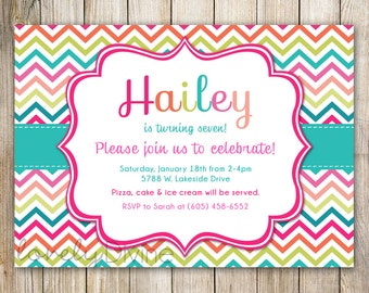 CHEVRON Birthday Invitation, 1st Birthday Invitation, 2nd Birthday Invitation, 3rd Birthday Invitation, 4th, 5th, 6th, 7th etc, PRINTABLE