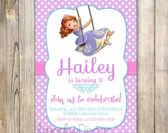 Sofia the First Invitation, Sofia the First Invite, Sofia Invitation, Sofia Invite, Birthday Invitation, 1st, 2nd, 3rd, 4th, 5th, PRINTABLE