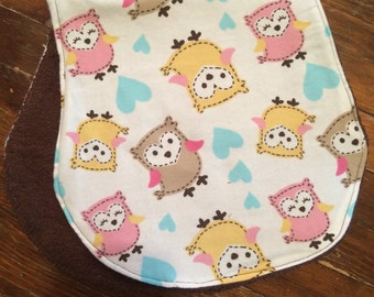 Pink and Brown Owl Print Boutique Burp Cloth - Terry Cloth, Baby Shower