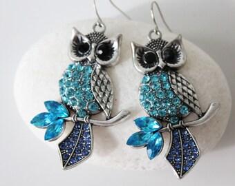 OWL Jewelry OWL Earrings Blue Rhinestone Drop Dangle Earrings Gift for her