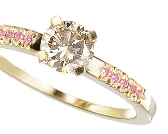 champagne diamond ring, champagne engagement ring, pink sapphire diamond ring, unique diamond ring, pink engagemnet ring