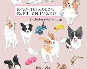 CLIP ART- Watercolor Papillon Dog Set. 16 Images. Digital Download. Puppy. Doggy Hat. Smile.