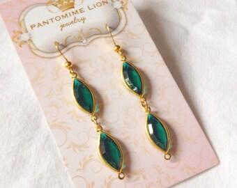 16mm Emerald Marquise Earrings