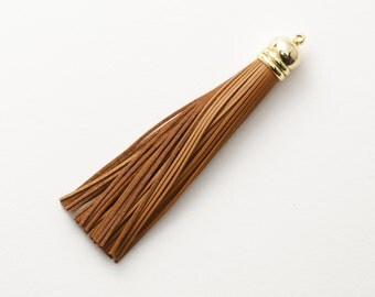 4001221 / Light Brown / Genuine Leather Tassel / 16k Gold Plated Brass Cap 12mm x 98mm / 7.5g / 60strands / 1pcs