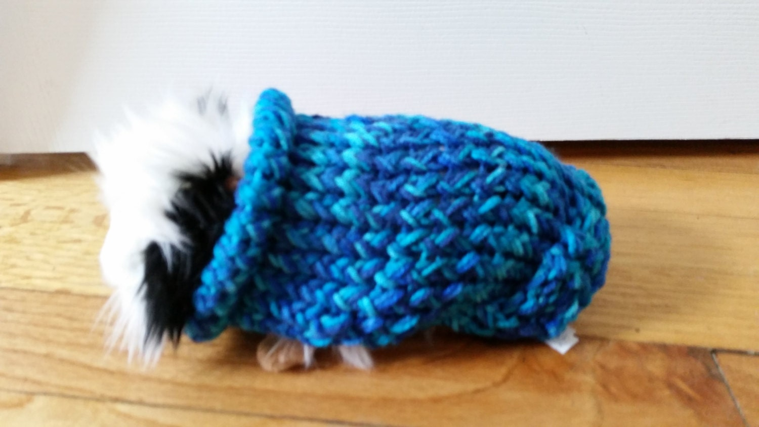 Guinea Pig Sweater Knitting Pattern : Hand Made Double Knit Guinea Pig Sweater in Shades of Aqua