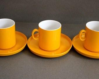 Set of 3 Vintage Gaydon Encore Melamine Cups and Saucers