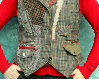 Fantasy recycled upcycled appliqued vest English country folk style