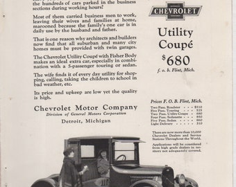 """1923 Chevrolet Ad """"Is Your Wife Marooned During the Day?"""""""